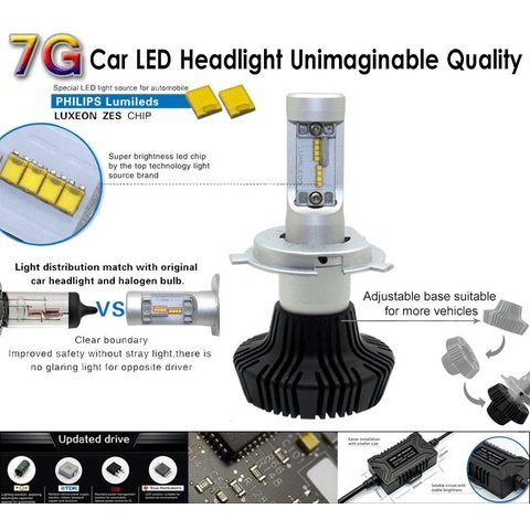 Набір світлодіодного головного світла UP-7HL-9005W-4000Lm (HB3, 4000 лм, холодний білий) Прев'ю 3